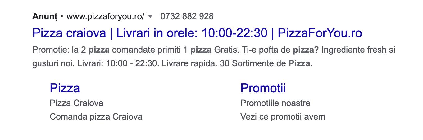 exemplu anunt pe google