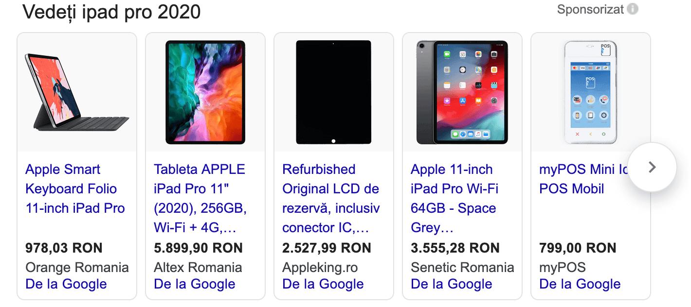 exemplu google shopping
